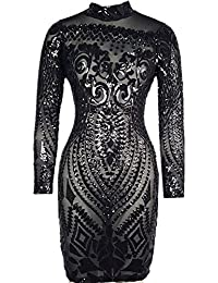 Women Sequin Dress Geometric Tattoo Bandage Bodycon Club Dresses