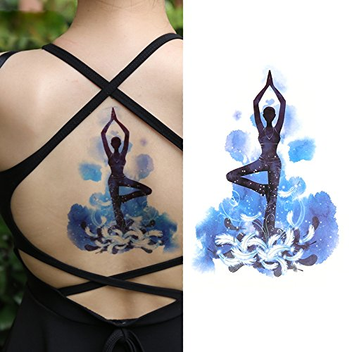 Oottati Tatouages Temporaires Old School Femme Danse Bleue (2 Feuilles)