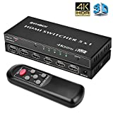 5 Port HDMI Switch - 4k HDMI Switcher with Remote Control, Support HDMI