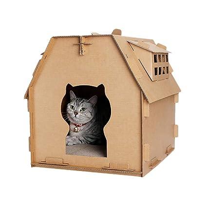 Urijk Cardboard Cat House Scratcher Cat Corrugated House With