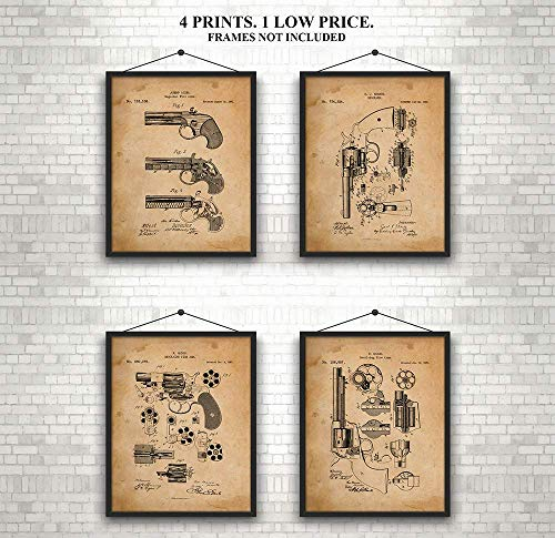 - Revolver - Antique Fire Arms Patent Prints - Set of 4 Ready to Frame 8 x 10 Invention Patents for 3 Revolvers and a Magazine Fire Arm -1800's. Gift for Gun Enthusiasts and Collectors.