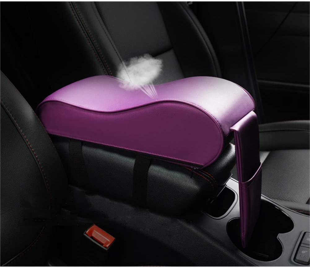 Purple Black Beige Memory Foam Car Armrest Cushion Cotton Foam PU with Phone Holder Storage Bag Auto Center Console Armrest Pad Pillow Car Armrest Box Mat Fit for Most Car Coffee Red