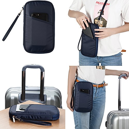 RFID Travel Passport Wallet & Documents Organizer with Neck and Hand Strap(Blue) by Athena YY (Image #6)