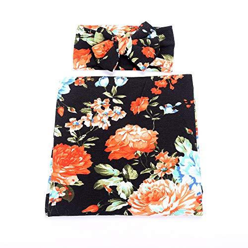 (Galabloomer Newborn Receiving Blanket Headband Set Flower Print Baby Swaddle Receiving Blankets Black Rose )
