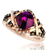 LeVian Ring Featuring a 2.50 Carat Cushion Cut Rhodolite Garnet Set in 14K Rose Gold