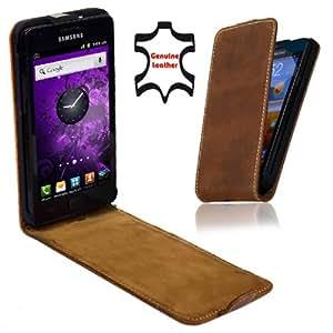 Perfect Case Stil Better - Funda de piel con tapa para Samsung Galaxy S2 i9100, color marrón