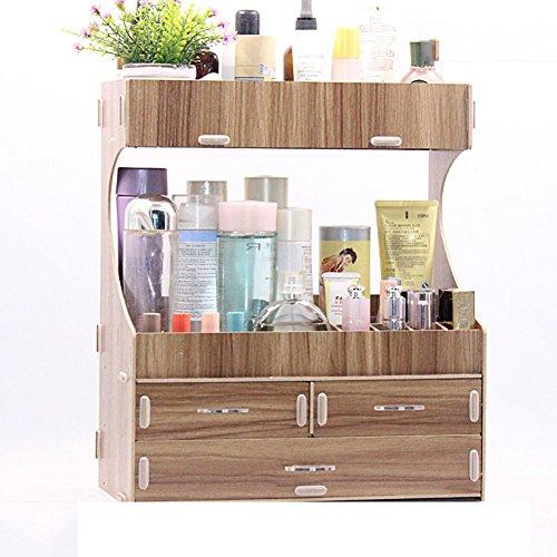 Rart Caja de almacenamiento,Almacenamiento de múltiples capas cajoneras Organizador escritorio madera Joyero con espejo...