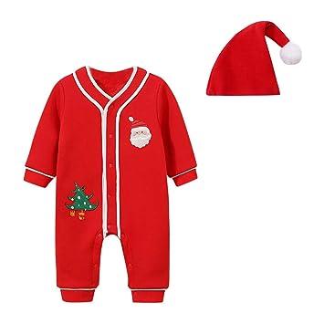 Amazon.com: 2 piezas recién nacidos bebé niños Navidad mono ...