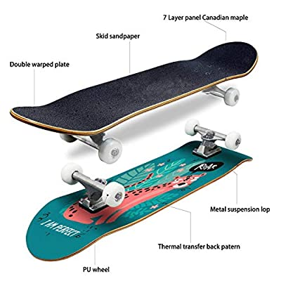EFTOWEL Skateboards Vertical Greeting Card or Banner with a Cute Leopard in The Jungle and Classic Concave Skateboard Cool Stuff Teen Gifts Longboard Extreme Sports for Beginners and Professionals : Sports & Outdoors