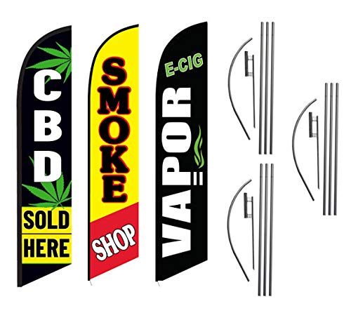 CBD Sold Here Smoke Shop E-Cig Vapor Advertising Feather Flag Kits Package, Includes 3 Banner Flags, 3 Flag Poles, and 3 Ground Stakes (The Best Smoke Shop)
