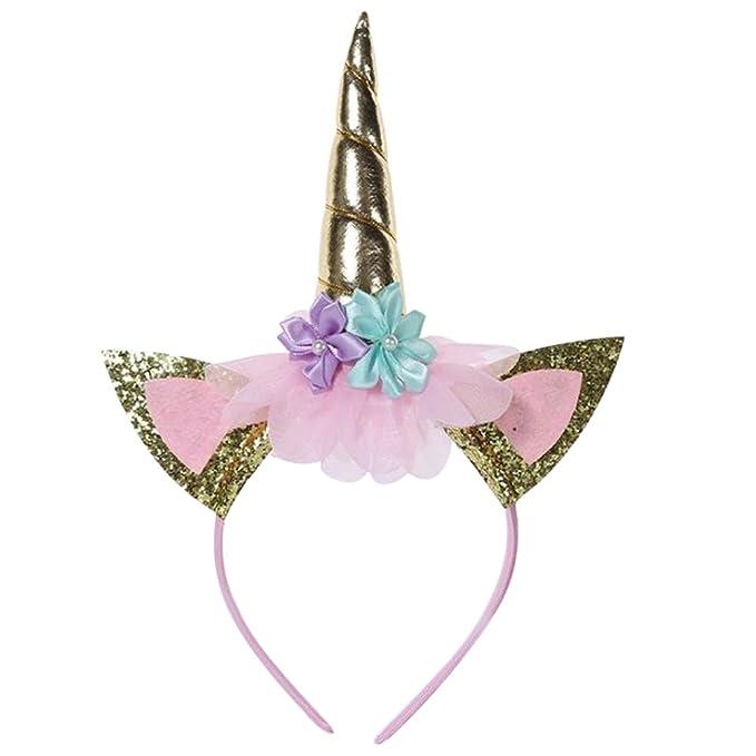 Women Lady Girl Colorful Sequins Unicorn Horn Ear Party Hair Headband band Hoop