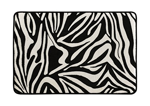 - YK Decor 17x24 Inch Memory Foam Bath Rug DoorMat, Zebra,Ship from US