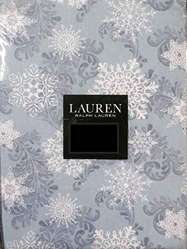 Ralph Lauren Snowfall Tablecloth White Snowflakes on Blue -