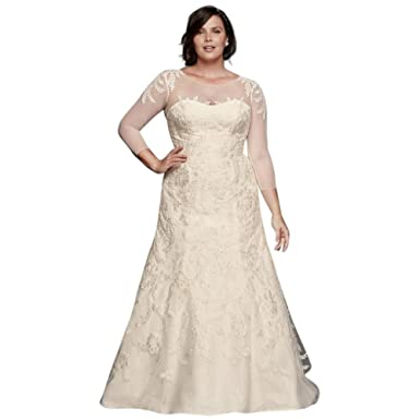 Davids Bridal Oleg Cassini Plus Size Wedding Dress With Sleeves