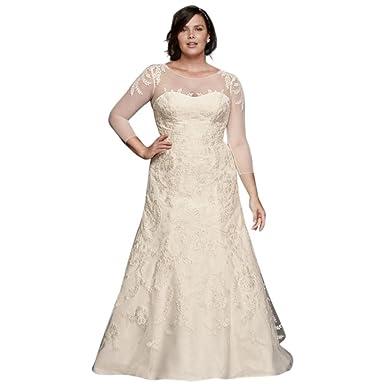 David\'s Bridal Oleg Cassini Plus Size Wedding Dress with Sleeves ...