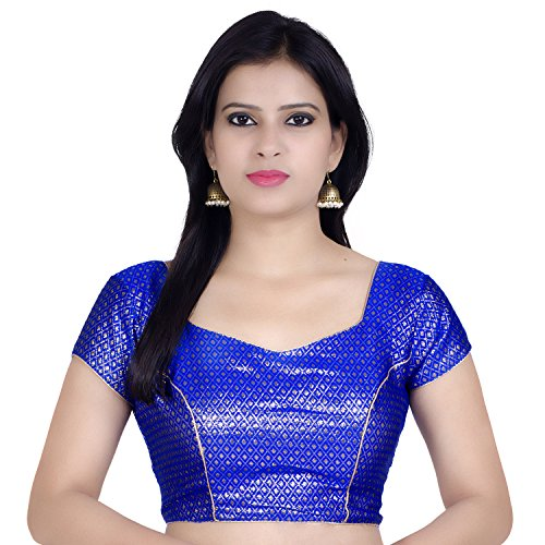 Chandrakala Women's Stretchable Readymade Lycra Blue Indian Ethnic Saree Blouse Crop Top Choli-2X-Large (B106BLU6)