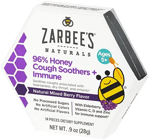 Zarbee's Naturals 96% Honey Cough Soothers + Immune with Elderberry, Vitamin C, D, and Zinc for Immune Support*, Natural Mixed Berry Flavor, 14 Drops