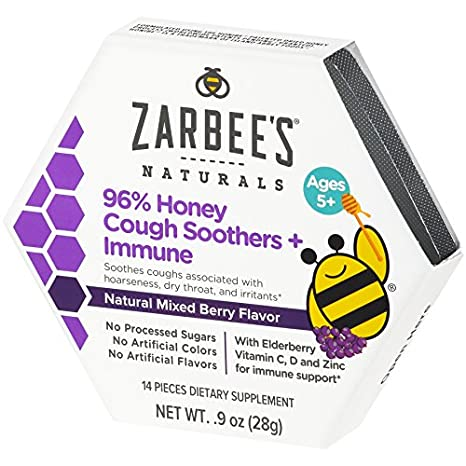 Zarbees Naturals 96% Honey Cough Soothers + Immune with Elderberry, Vitamin C, D, and Zinc for Immune Support* Natural Mixed Berry Flavor, 14 Drops