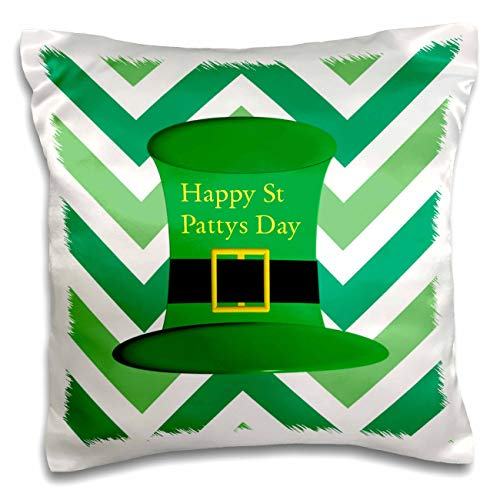 - 3dRose Lens Art by Florene - St Pattys Day - Image of Green Leprechaun Hat On Chevron Stripes - 16x16 inch Pillow Case (pc_299596_1)