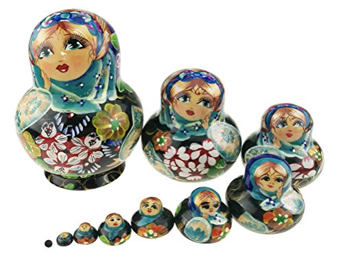 Unigift Cute Little Girl with Flower Pattern Varnished Wooden Handmade Russian Nesting Dolls Matryoshka Dolls Set 10 Pieces for Kids Toy Birthday Home Decoration