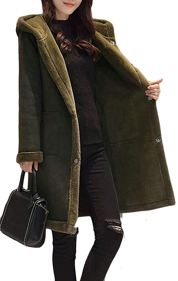 Blackish Green Alion Women Winter Warm Suede Lamb Wool Open Front Thicken Hooded Jacket