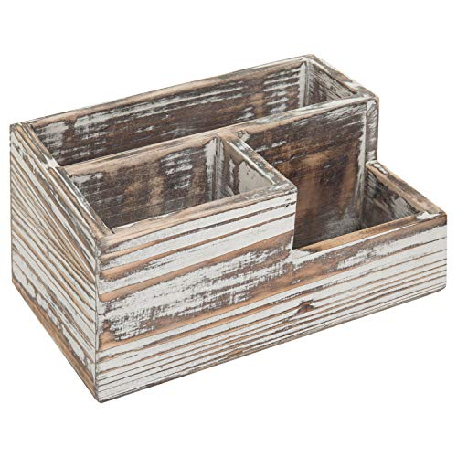 MyGift Rustic Torched Wood 3-Compartment Desktop Organizer ()