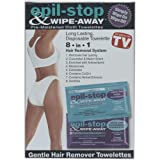 Epil Stop & Wipe Away, The Safer Faster Way To Hair-Free Skin, Includes: 10 Pre-Moistened Wipe-On Hair Remover, 10 Pre-Moistened Wipe -Off Moisturizer, 2 Pre-Moistened Sensitive Wipe-on, 2 Pre-Moistened Sensitive Wipe-off As Seen On TV Review