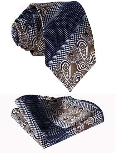 HISDERN Men's Paisley Jacquard Woven Tie Necktie Set