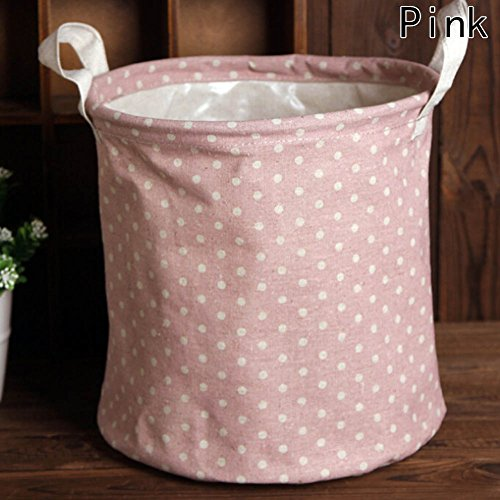 HongG 10 Inches Japanese Laundry Basket Waterproof Round Cotton Collapsible Storage Basket with Wave Point