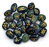 Moss Agate Runes Stone Set with Velvet Pouch and