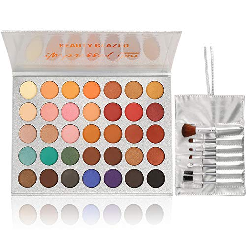 - Beauty Glazed Eyeshadow Palette and Makeup Brushes, Matte Shimmer Eye Shadow Pallete Waterproof Powder Natural Pigmented Nude Naked Smokey Professional Cosmetic Set (35 Colors + 7 PCS)