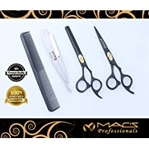 """Macs Professional Black Coated Gold Plated Beauty full Double Tone Combination Razors Edge Barber Hair Cutting Scissor /Shear And Texturizing/Thinning Shears 5 PCs Set Made Of 420 Japanese Stainless Steel 6.75"""" -15043"""
