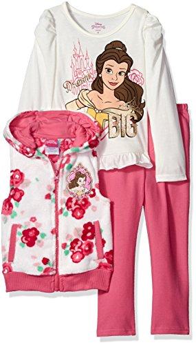 Disney Girls' Little Girls' 3 Piece Belle Vest Set T-Shirt and Legging Set, White, 6