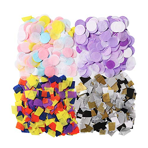 Molshine 2000pieces Tissue Paper Confetti Circle Dots Rectangle Collage Material,Kids Craft Activities,Scrapbooking,Gift Decoration,Diary Notebook Embellishment,Party Festival Atmosphere Decoration ()