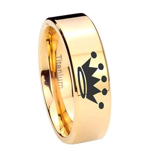 Oro IP de titanio diseño de corona anillo de grabado de corte de tubo (6
