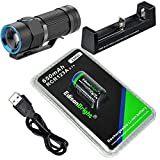 Olight S1 Baton 500 Lumen Compact EDC LED Flashlight with EdisonBright EBR65 RCR123A 16340 lithium-ion battery and charger bundle