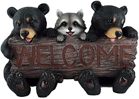 Rustic Bears and Raccoon Statue Holding an Outdoor Faux Wood Welcome Sign