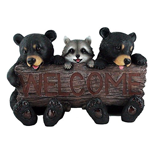 Rustic Bears and Raccoon Statue Holding an Outdoor Faux Wood Welcome Sign in Garden, Lodge and Cabin Decor Sculptures and Housewarming Gifts