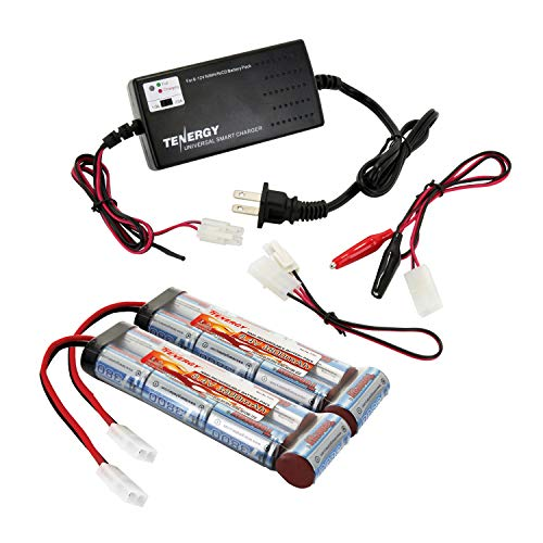 Tenergy Airsoft Battery 8.4V 3800mAh NiMH Flat Battery Packs 2pc w/Standard Tamiya Connector + 6V-12V Universal Battery Charger for NiMH/NiCd Battery Packs for Airsoft Guns, RC ()
