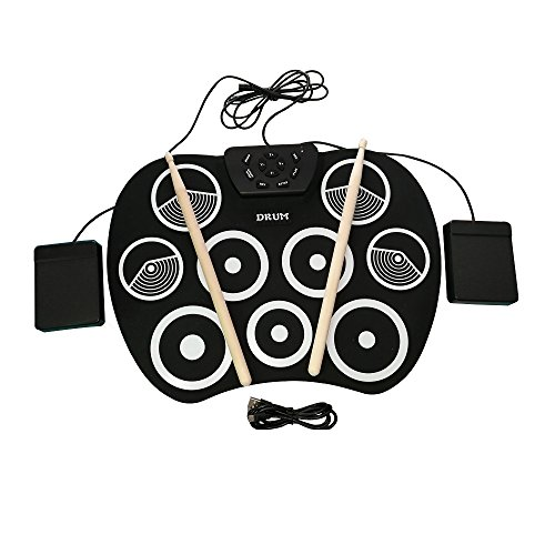 Professional Set Usb Drum (Portable Electronic Roll Up Drum Set, Youqian USB Digital 9 Pad Foldable Practise Electronic Drum Set Musical Instrument for Kids Beginners Children (Headphone/Speaker Required for Use))