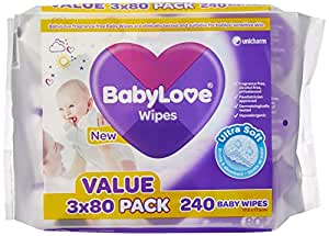 BabyLove Ultra Soft Baby Wipes Value Pack (3 x 3 x 80-Pack = 720 total)