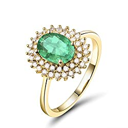 Yellow Gold With Green Emerald Diamond Ring