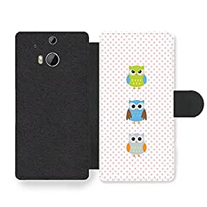 New Cool Owl Pattern Colourful Design Cute Sweet Faux Leather case for HTC One M8