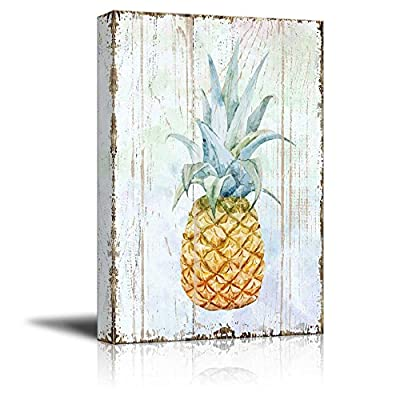 Pineapple on Wood Style Background - Canvas Art