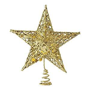 15CM Tieyi Sparkling Pink Christmas Tree Top Star Pentagon Christmas Decoration