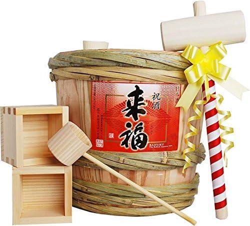 Amazon.co.jp: 来福 ミニ樽酒セット 2升樽 (3.6L)祝い酒 ...