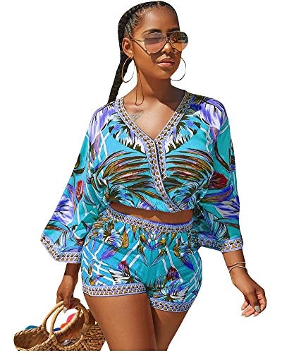 Womens Crop Tops Shorts Set Floral Print Rompers for Summer Short Pants Fashion 2019 Beach 2 Pcs Set Blue M (Best Jumpsuits Summer 2019)
