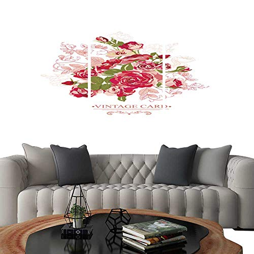 - UHOO Prints Wall Art PaintingsVintage Floral Card with Roses4. Customizable Wall Stickers 20