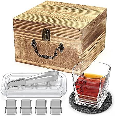 Hshrish Juego de vasos de whisky, Medusa tallada Rock, vasos de cristal de 300 ml, 1 paquete, 1 taza, 1 posavasos 4 piedras de hielo, 1 pinza empaquetada con caja de regalo de madera para hombres