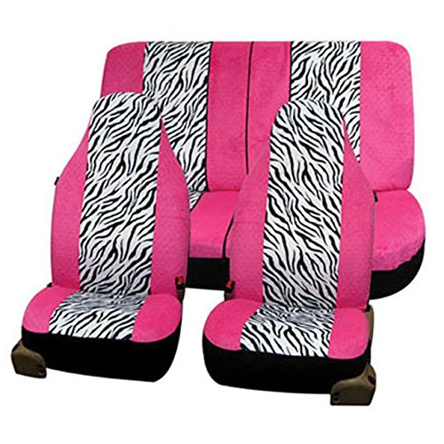 FH GROUP FH-FB121112 Zebra Prints Car Seat Covers, Airbag ready and Split Bench, Pink / White color ()